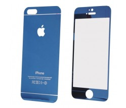 IPHONE 5 5S 5SE - TEMPERED GLASS 0.3MM FRONT+BACK BLUE
