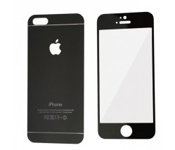 IPHONE 5 5S 5SE - TEMPERED GLASS 0.3MM FRONT+BACK BLACK